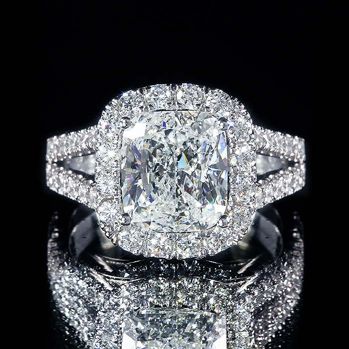 e512b7bf5efbcb Details about 4.01ct GIA Cushion Diamond Split Shank Pave Halo Engagement  Ring Filigree J/SI1