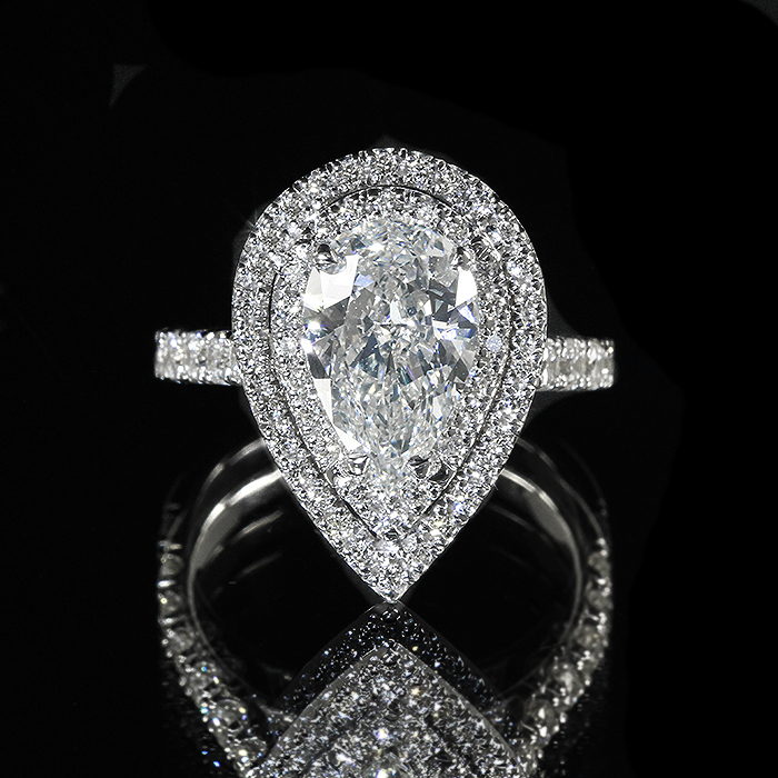 abf2ad5977541 Details about 2.63ct GIA Pear 18K Double Halo Diamond Pave Engagement Ring  I/VS2 (13544863)